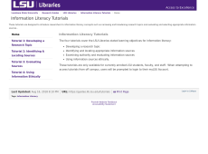Thumbnail of Information Literacy Tutorials